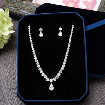 Fashion Silver-Tone AAA Cubic Zirconia Round Shape Necklace Stud Earrings Pear Pendant Women Jewelry Sets for Wedding Party Prom