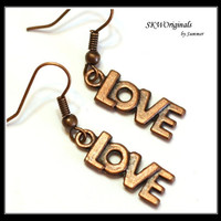 Love Charm Earrings / antique finish / womens jewelry / holiday jewelry / valentines earrings / fashion jewelry