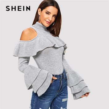 SHEIN Grey Tiered Ruffle Sleeve Slim Fitted Sweater Casual Cold Shoulder High Neck Long Sleeve Pullovers Women Autumn Sweaters