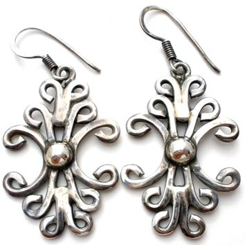 Scroll Style Sterling Silver Dangle Earrings Vintage