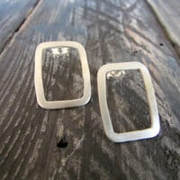 Rectangle Post Earrings, Metalwork Stud Earrings, Sterling Silver Jewelry