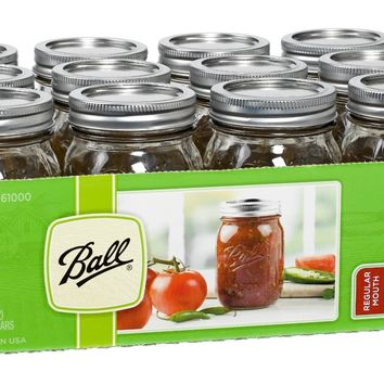 Ball® 61000 Regular Mouth Glass Mason Jars with Lids & Bands, Pint, 12-Count
