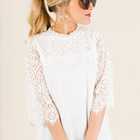 Classy Lace Top, Pearl