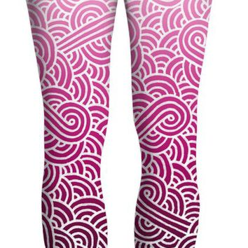 Ombre pink and white swirls doodles Yoga Pants