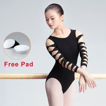 Fashion Girls Adult Ballet Leotards Ballerina Black Gymnastics Leotard Hollow Sleeve Women Ballet Bodysuit