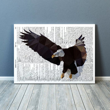 Bald eagle poster Bird of prey print Wall art Geometric decor TOA77-1