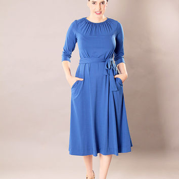 Blue modest classic midi dress with gatherings and belt