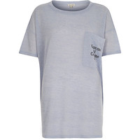 River Island Womens Blue comme ci comme ça oversized t-shirt