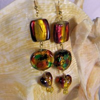 Fall Multi-colored Foil Glass Square, Rectangle, Heart Bead Earrings