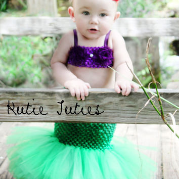The Little Mermaid Tutu dress, crochet top with mermaid tail, Halloween Costume, baby girl, infant, toddler 0-3, 3, 6, 9, 12, 24, 2t
