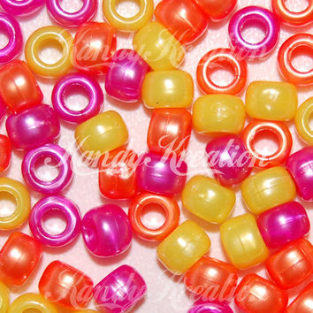 400 Bright Mix Pearl Metallic 9mm Pony Beads Kandi Crafts Pink Yellow Orange Kid pearly colors bulk pack