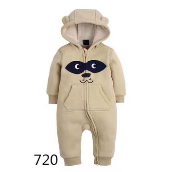 2017 Spring Character Pattern Hooded Baby Rompers Newborn Clothing Cotton Long Sleeve Jumpsuits Boys Girls Outerwear Costume CAP