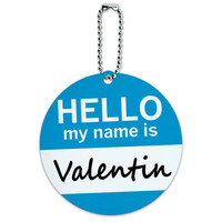 Valentin Hello My Name Is Round ID Card Luggage Tag