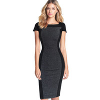 Square Neck Cap Sleeve Wear to Work Office Fitted Stretch Dress