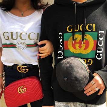 GUCCI Classic Fashionable Women Men Short T-Shirt Top Blouse Long Sleeve Hoodie Sweater Top Sweatshirt For Couple