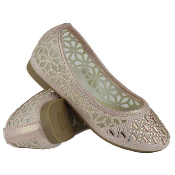 Kids Ballet Flats Lace Mesh Rhinestone Accent Casual Slip On Shoes Pink SZ