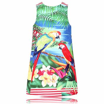 Little Girls Dresses Summer 2017 Brand Kids Clothes Children Dress Parrot Flower Print Robe Fille Enfant Princess Dress Costume