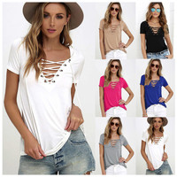 New 2017 Spring Summer Women T-Shirt Lace Up Hollow Out Off The Shoulder Loose Patchwork Tee Tops Lace T Shirt Women Plus Size