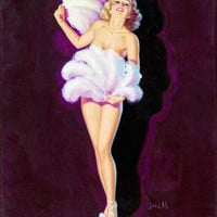 Pin-Up Girl Wall Decal Poster Sticker - Fan Dance - Blonde Pinup Pin Up