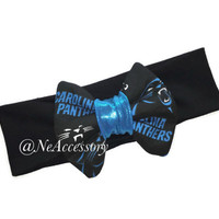Carolina Panthers  Headband, Baby Bow Headband, Adult Turban Headband, Newborn Photo Prop, Girls Headband