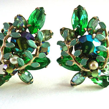 Green Rhinestone Enamel Floral Earrings, AB & Pearls Cluster, Large Vintage
