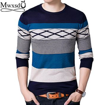 Mwxsd brand Men casual striped rhombus sweaters men slim fit knitted pullover hombre male cotton sweater