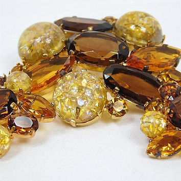 Rhinestone Brooch Earrings Set / Demi Parure / Art Glass / Cats Eye / Topaz