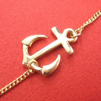 Classic Anchor Shaped Nautical Themed Pendant Necklace in Gold
