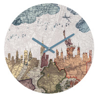 Belle13 New York Skyline Round Clock
