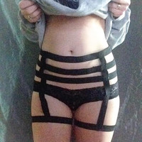 3-Strap Strappy Caged Waist Garter w/ Thigh Garter - Alternative / Bondage / Fetish Lingerie - Body Cage / Body Harness /  Waist Harness