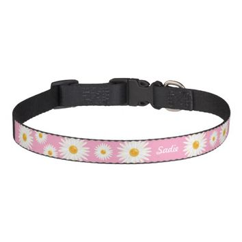 Daisy Flowers On Pink With Personalized Dog's Name Pet Collar
