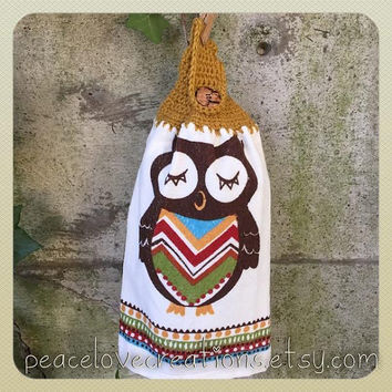 Crochet Owl Towel Topper~ Ready to ship~FREE SHIPPING