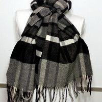 Scarf - Cashmere Men's Scarf - Black and Gray Scarf - Wool Men's Scarf - RZ1740