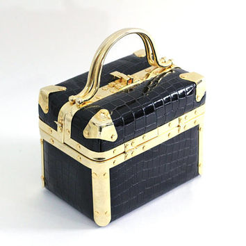 Vintage Box Purse Navy and Gold | Comeco Navy Faux Alligator with Shiny Gold Hardware | Vintage 60's Trunk Bag | Vintage Glam