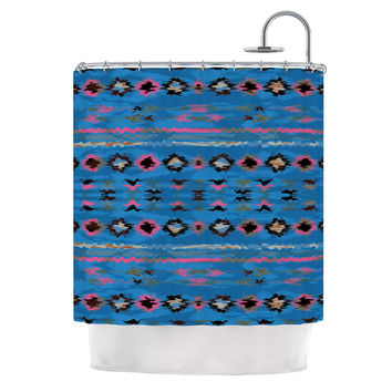 "Nina May ""Navano Blue"" Blue Tribal Shower Curtain"