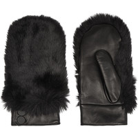 Karl Lagerfeld - Faux fur-paneled leather mittens