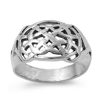 925 Sterling Silver Wicca Celtic Pagan Op Art Ring