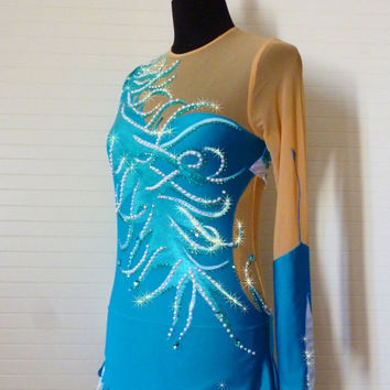 ON SALE Rhythmic gymnastic leotard Blue Mermaid - Made to order