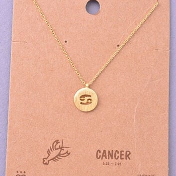 Dainty Circle Coin Cancer Zodiac Symbol Necklace - Gold, Silver or Rose Gold
