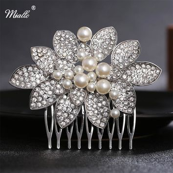 Miallo Rhinestone Hair Accessories Wedding Hair Combs Bridal Prom Hairpins Silver Crystal Bridal Headpiece Wedding