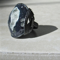 Midnight Druzy Ring Indigo Sky by HardCandyGems