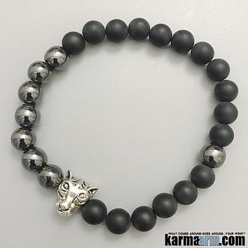 COURAGE & STRENGTH: Black Onyx | Hematite | Silver Tiger | Yoga Chakra Bracelet