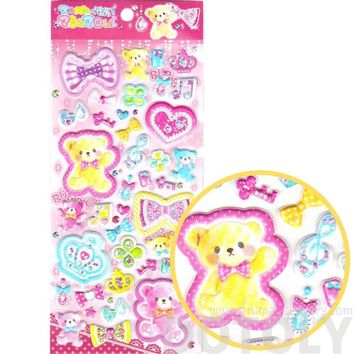 Kawaii Teddy Bears Crowns Hearts Bows Princess Themed Puffy Stickers for Scrapbooking