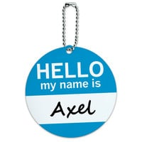 Axel Hello My Name Is Round ID Card Luggage Tag