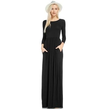 Round Neck Modest Long Dress with Long Sleeves