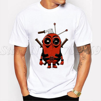 New Arrivals Men fashion Star Wars t-shirt Deadpool Minion cartoon printed male tops funny hipster basic tee shirts