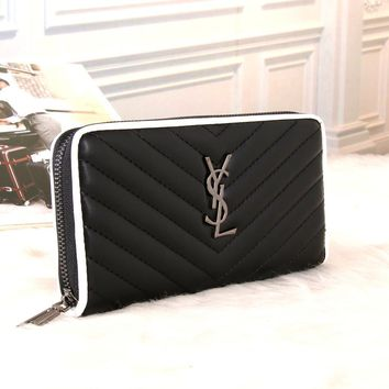 """Yves Saint Laurent YSL"" Women Purse Fashion Multicolor Zip Long Section Multifunction Wallet Handbag"
