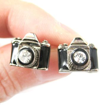 Small Camera Photography Themed Stud Earrings in Black and Silver