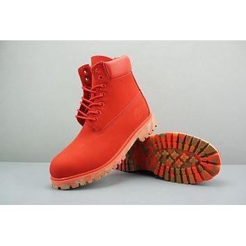 Timberland Leather Lace-Up Boot High Red Camo Sole