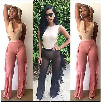 New Women Beach Mesh Sheer Cover Up Suit Pants Trousers Summer Casual Womens Ladies Girl Pant Clothing